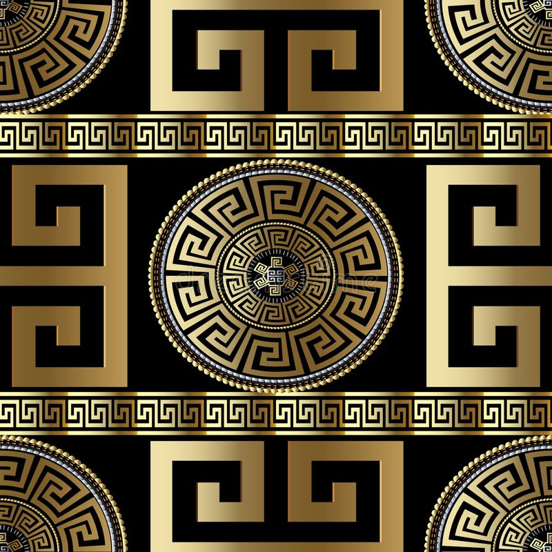 Modern geometric greek seamless pattern. Vector gold meander background. 3d wallpaper with greek key ornament. Ornate fabric. Design. Abstract surface texture royalty free illustration