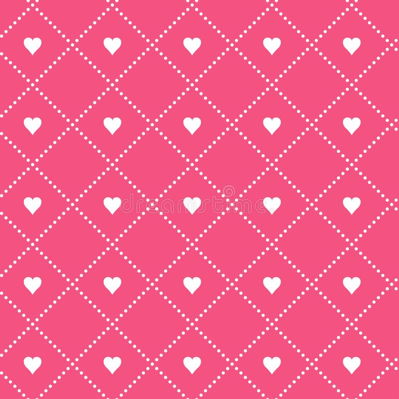 MODERN GEOMETRIC GRID SEAMLESS VECTOR PATTER. DOTS SQUARE IN HEART. LOVE VALENTINES DAY BACKGROUND royalty free illustration