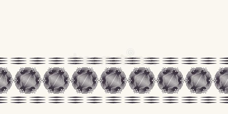 Modern geometric hand drawn woven circle diamond border. Repeating abstract gradient ribbon trim. Ornamental monochrome geo. Geometric hand drawn woven circle stock illustration