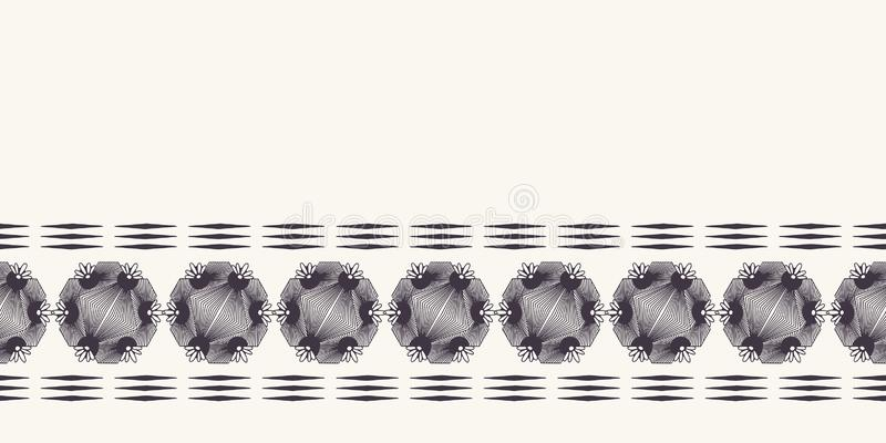 Modern geometric hand drawn woven circle diamond border. Repeating abstract gradient ribbon trim. Ornamental monochrome geo. Geometric hand drawn woven circle royalty free illustration
