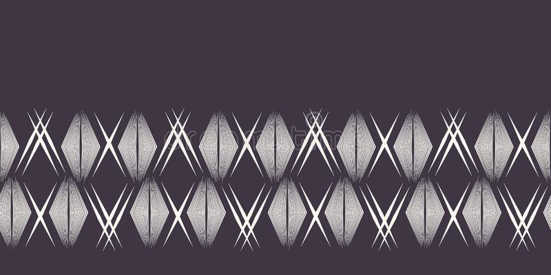 Modern geometric hand drawn woven diamond border. Repeating abstract gradient chevron ribbon trim. Ornamental monochrome geo. Geometric hand drawn woven diamond royalty free illustration