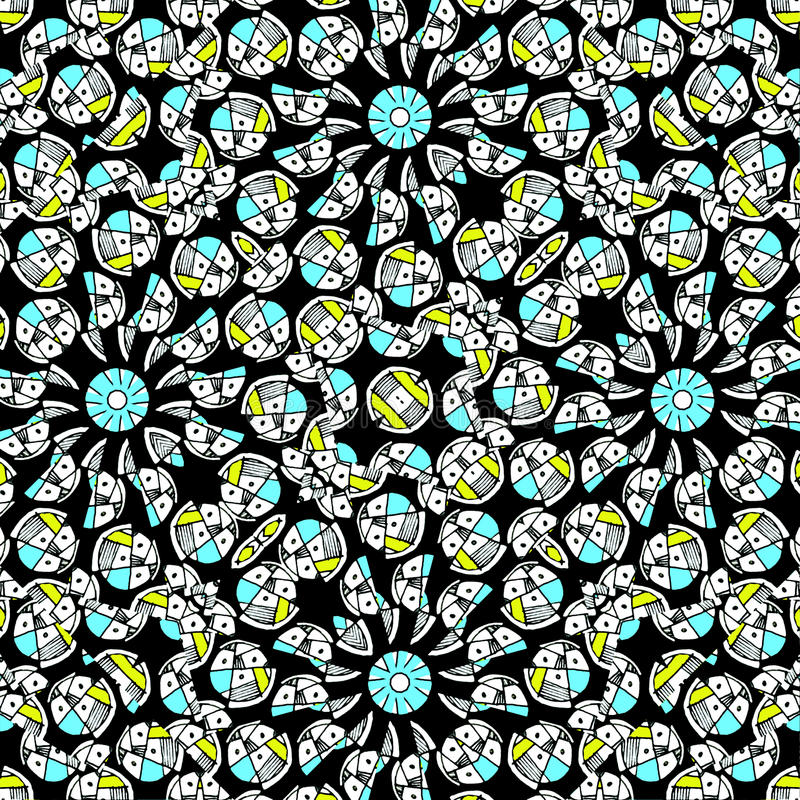 Modern Geometric Intricate Hand Draw Seamless Pattern Mosaic. Digital modern abstract geometric seamless intricate pattern design in mixed high contrast colors royalty free illustration