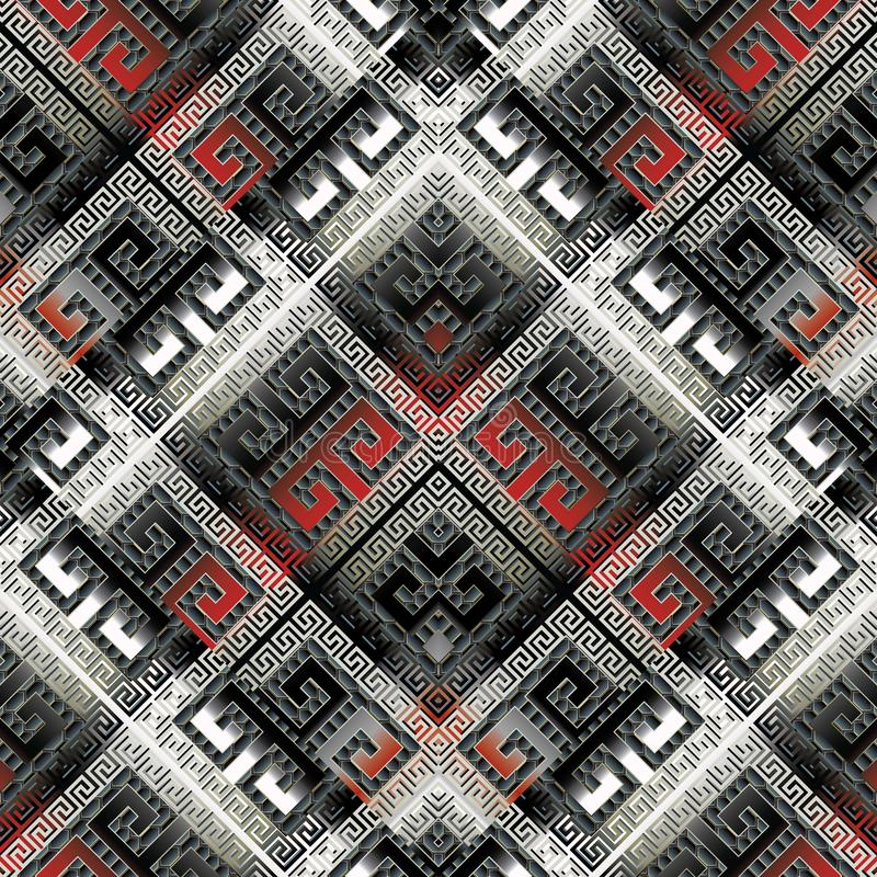 Modern geometric meander seamless pattern. Vector luxury abstract greek key background. 3d wallpaper. Geometric black white red s royalty free illustration