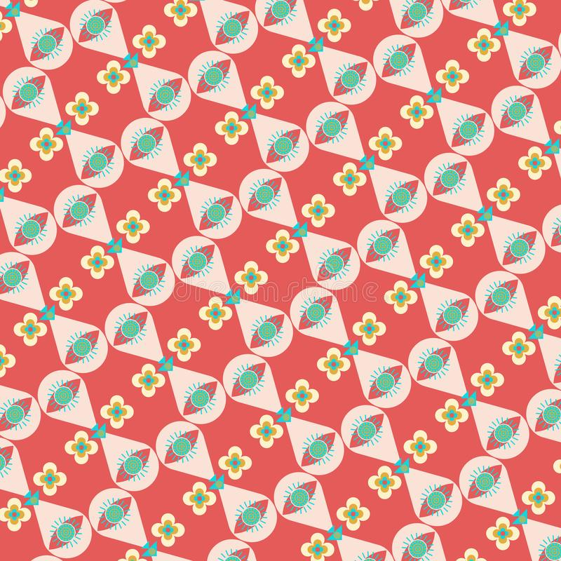 Modern geometric repeating pattern in vivid red, blue and yellow stock illustration