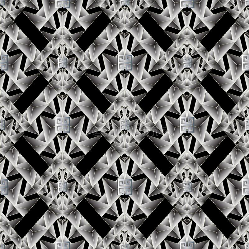 Modern geometric seamless pattern. Abstract black vector background wallpaper illustration with white 3d geometric shapes, figure stock illustration