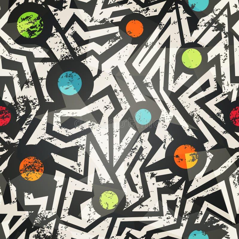 Modern geometric seamless pattern with grunge effect royalty free illustration
