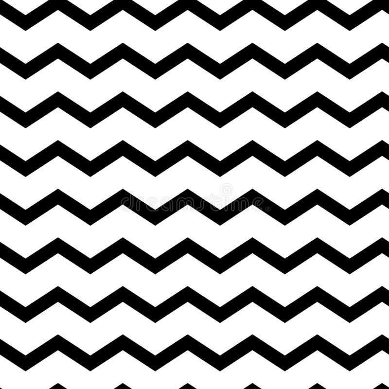 Modern geometric seamless pattern zig zag. Black waves. Classic striped retro background. Vector illustration stock illustration