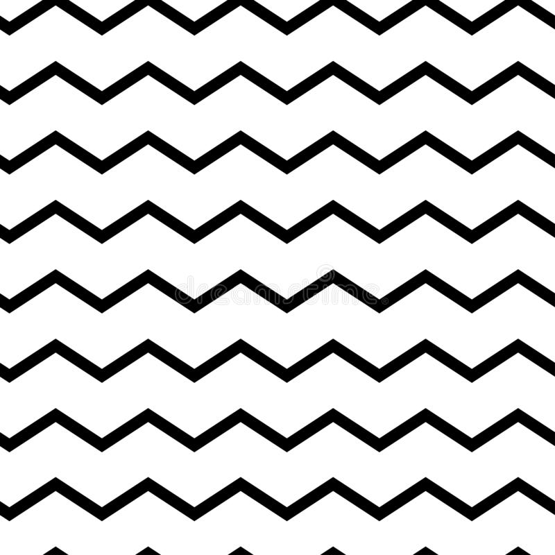 Modern geometric seamless pattern zig zag. Black waves isolated on white background. Classic striped retro background. Vector vector illustration