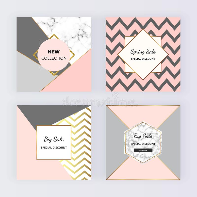 Geometric sale web banners with pink triangles, mermaid scales. Modern promotion fashion design with marble texture. Template for stock illustration