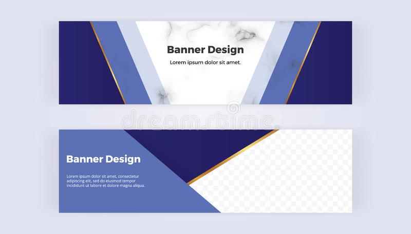 Modern geometric web banners with blue triangular shapes and golden lines on the marble background. Template for designs, business stock illustration