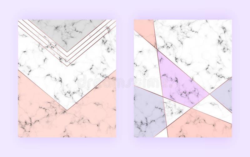 Modern geometrisch dekkingsontwerp met driehoekenvormen en marmeren textuur Gouden nam lijnen, grijze, roze achtergrond toe Malpl stock foto