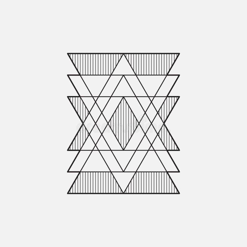 Modern geometrisch symbool, lijnontwerp, vector, driehoeken royalty-vrije illustratie