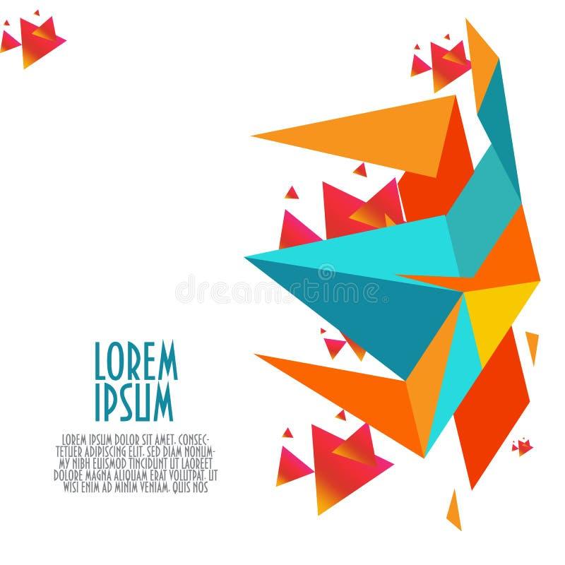 Modern geometrisk abstrakt bakgrund med blått, apelsin, röda och gula trianglar och andra beståndsdelar royaltyfri illustrationer