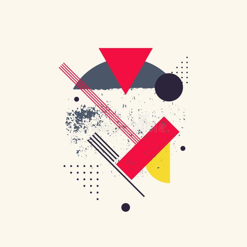 Modern geometrisk bakgrund för abstrakt konst med lägenheten, minimalistic stil Idérikt akvarium med lilla goldfis stock illustrationer