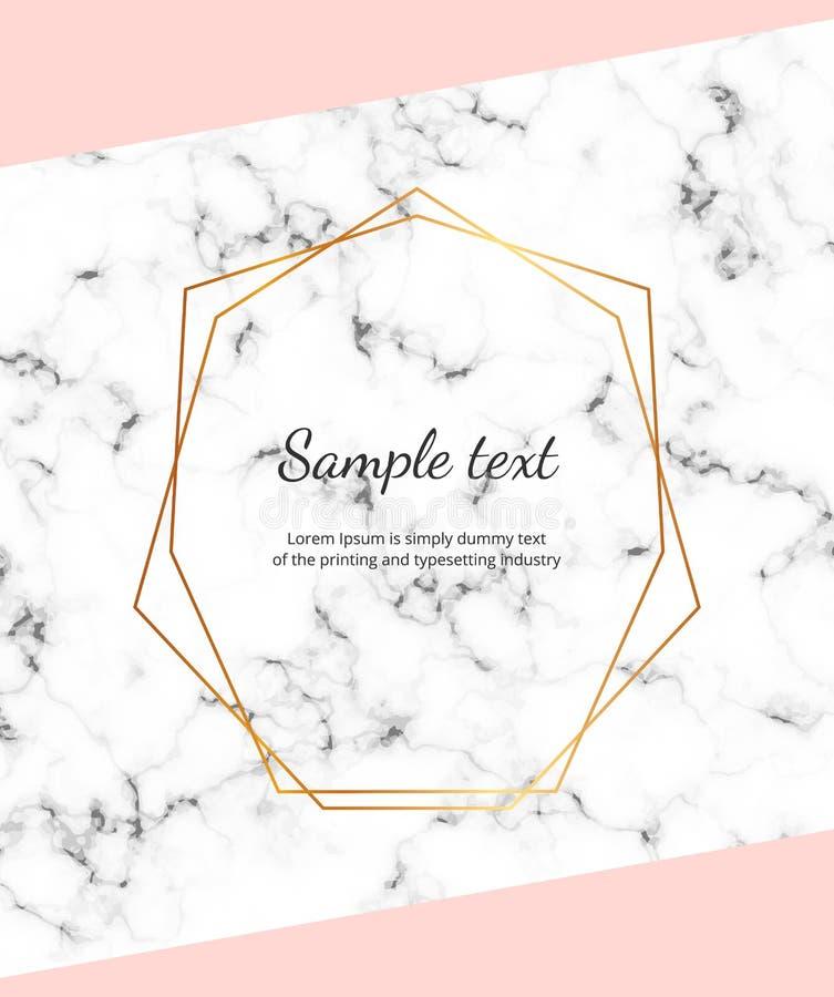 Modern geometrisk design, linjer, ram på marmortexturen Modemall för tryckadvertizingdesign, baner, kort, reklamblad, I stock illustrationer