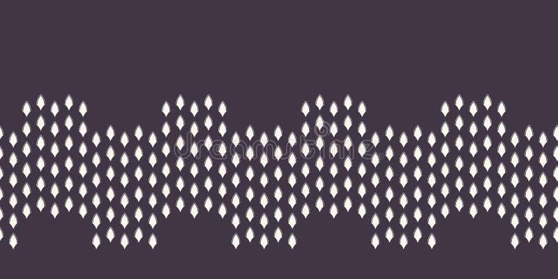 Modern geometrisk hand dragen krabb gräns Upprepa abstrakt bandklippning för krökta former Dekorativ monokrom geo moderiktigt stock illustrationer