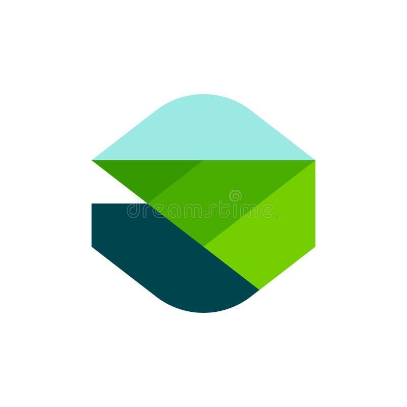 Modern geometrisk logofläckmall eller symbol av det lantliga landskapet stock illustrationer
