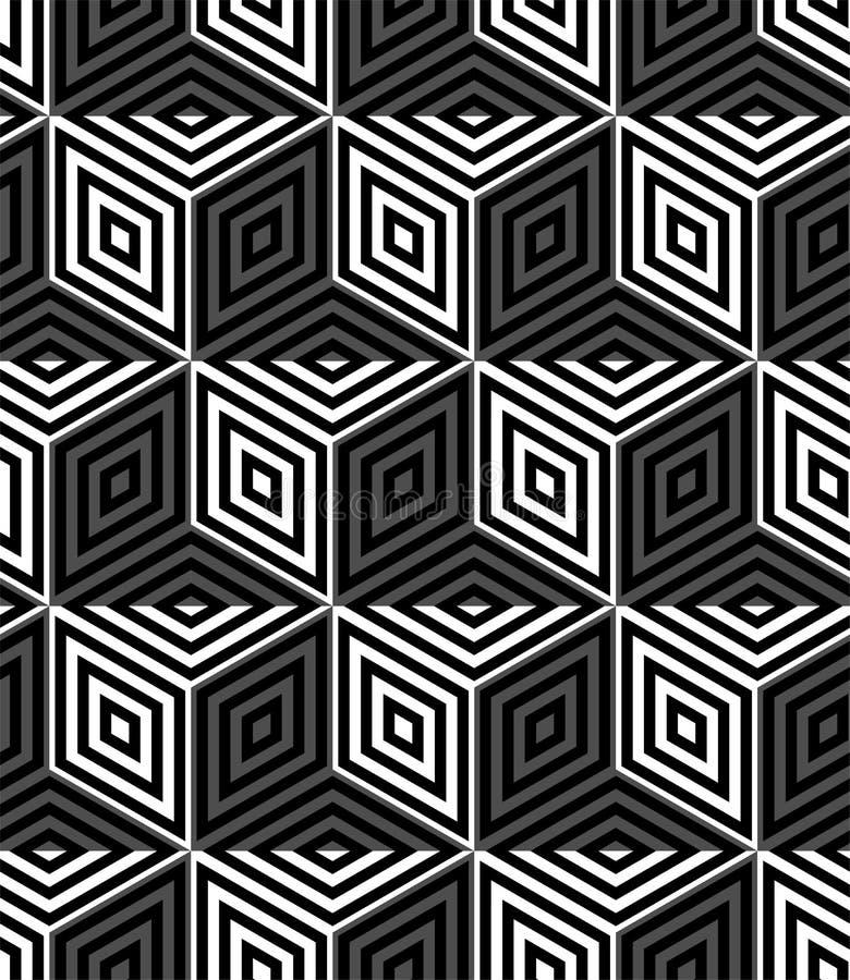 MODERN GEOMETRISK RANDIG KUB Moderiktig sömlös vektormodell OPTISK KONSTILLUSION royaltyfri illustrationer