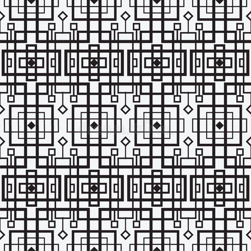 Modern geometrisk sömlös modell för vektor Uppsättning av svartvita sömlösa bakgrunder Linjer kub vektor illustrationer
