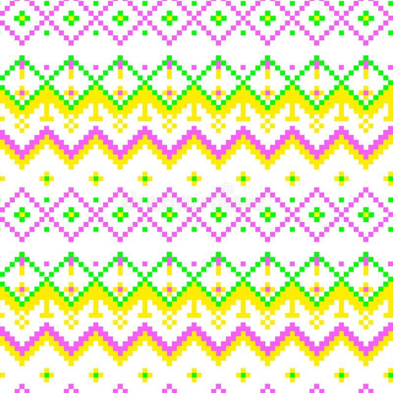 Modern geometrisk sömlös modellprydnad för PIXEL stock illustrationer