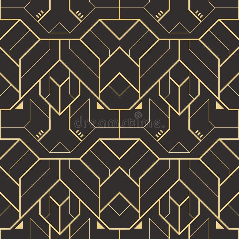 Modern geometrisk tegelplattamodell för vektor guld- fodrad form Abstrakt sömlös lyxig bakgrund vektor illustrationer