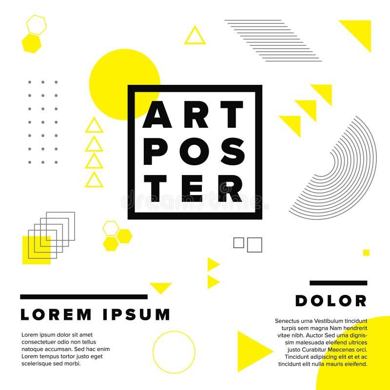 Modern geometry art poster template vector illustration