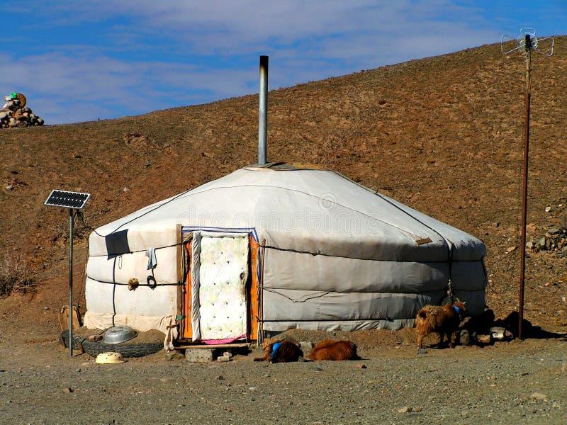 A modern ger in Gobi desert royalty free stock photography