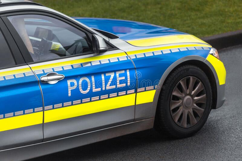 Modern german police car on the road. A modern german police car on the road stock photos