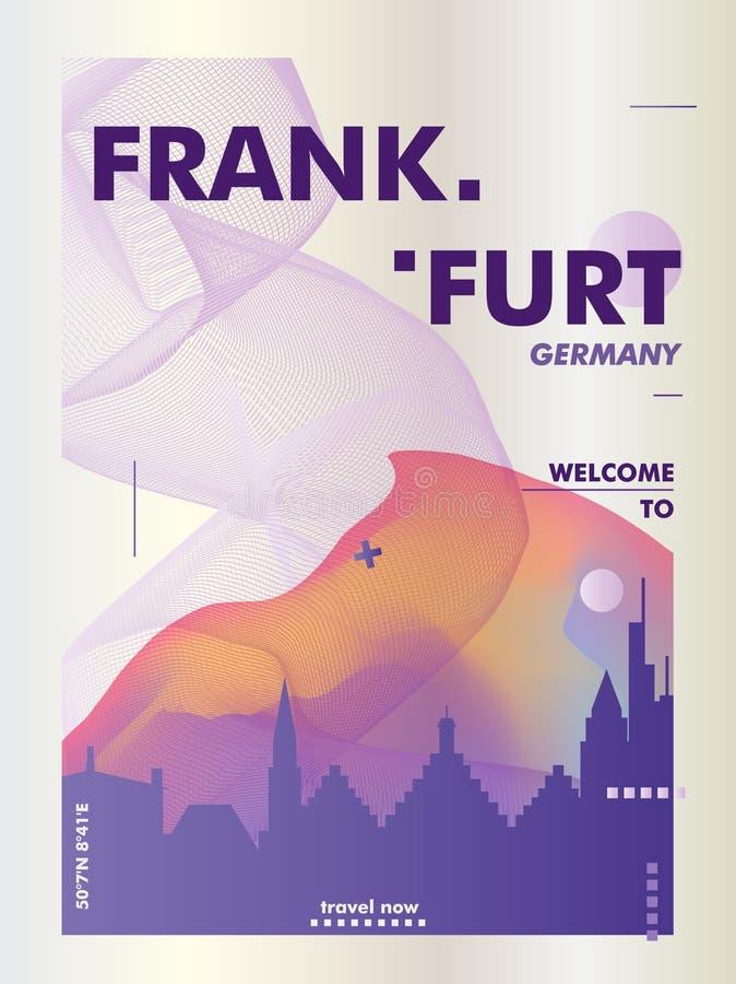 Germany Frankfurt skyline city gradient vector poster. Modern Germany Frankfurt skyline abstract gradient poster art. Travel guide cover city vector illustration vector illustration