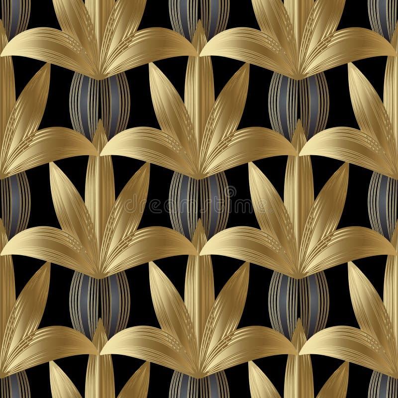 Modern gestreept bloemen naadloos patroon Vector zwarte bloemenbac vector illustratie