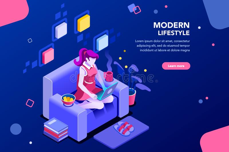 Modern Girl Banner for Website. Girl sitting on the sofa works with laptop, modern freelancer template for website. Concept with characters and text for services vector illustration