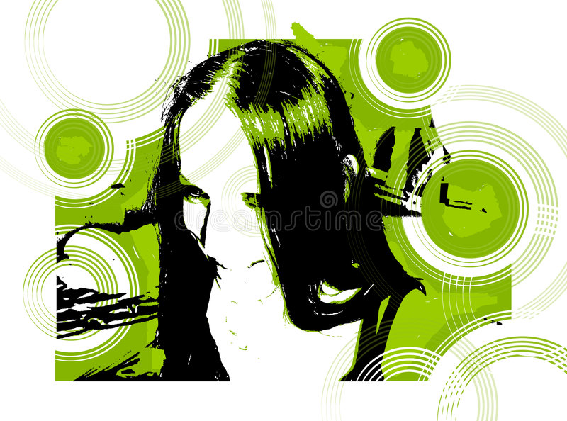 Modern girl cool smile. Vector picture, modern girl cool smile easy extraction and editing royalty free illustration