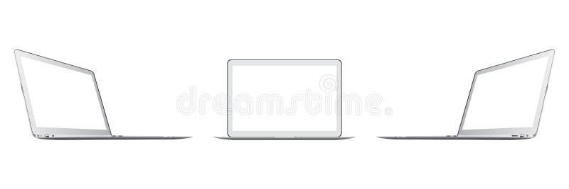 Modern glansig bärbar dator som isoleras på vit bakgrund vektor illustrationer