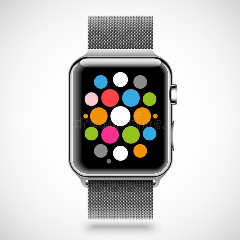Modern glanzend slim horloge met de armband van de staalketting vector illustratie