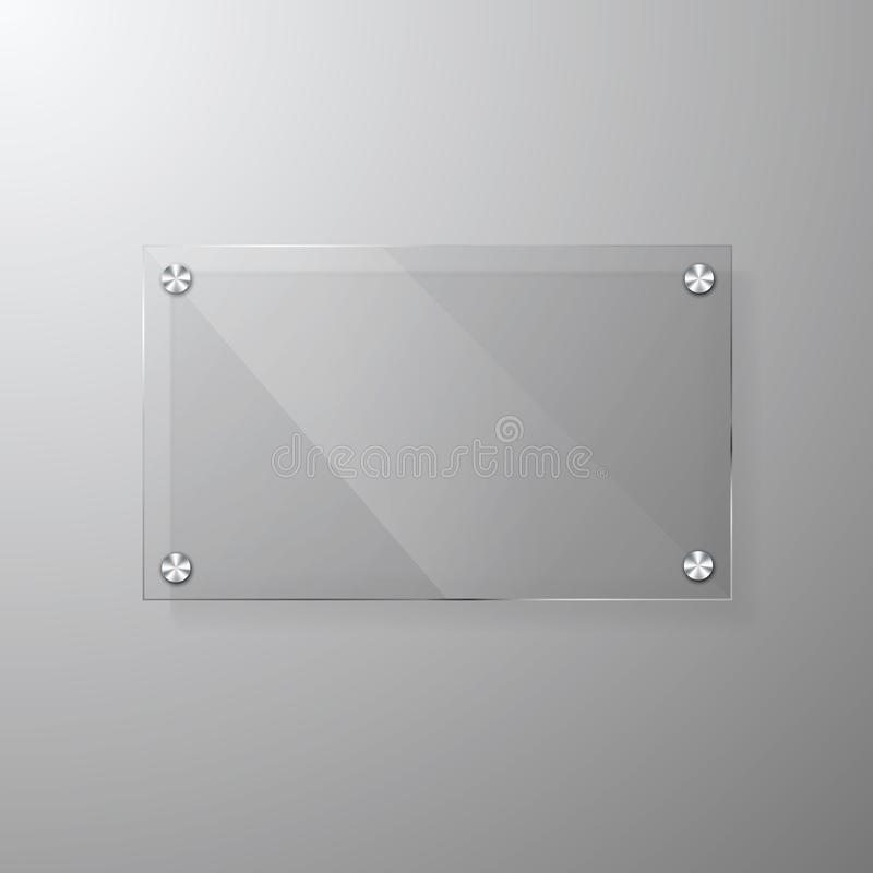 Modern glas- signagemall för vektor med utrymme för meddelande Klar åtlöje för akrylskyltdesign upp royaltyfri illustrationer
