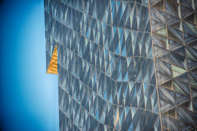 Modern glass building in abstract royalty free stock photo