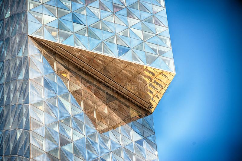 Modern glass building in abstract stock images