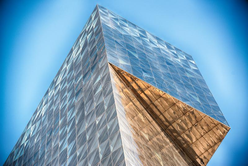 Modern glass building in abstract royalty free stock photography