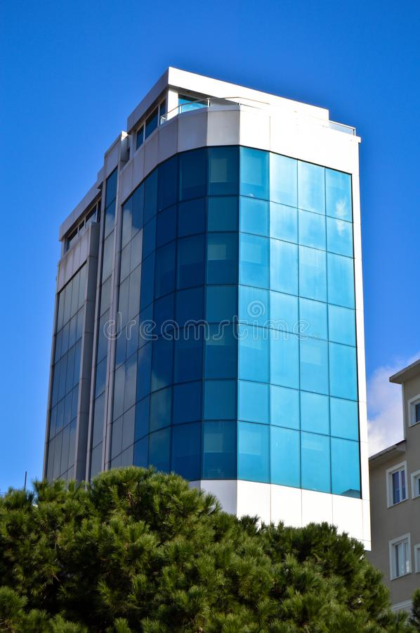 Modern glass building in the city center. Cityscape, corporate. stock images