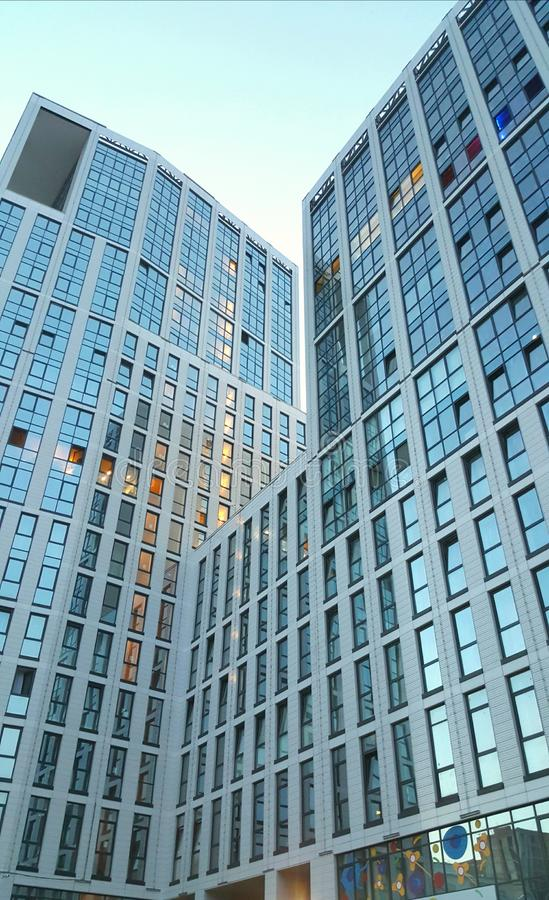 Modern glass silhouettes of skyscrapers. royalty free stock images