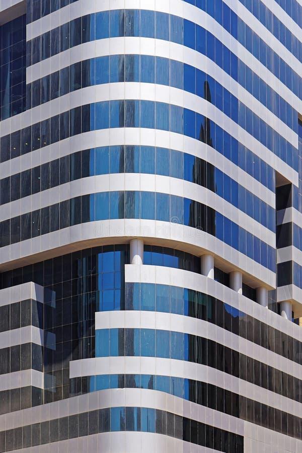 Glass skyscraper. Modern glass skyscraper corner in Kuwait royalty free stock image