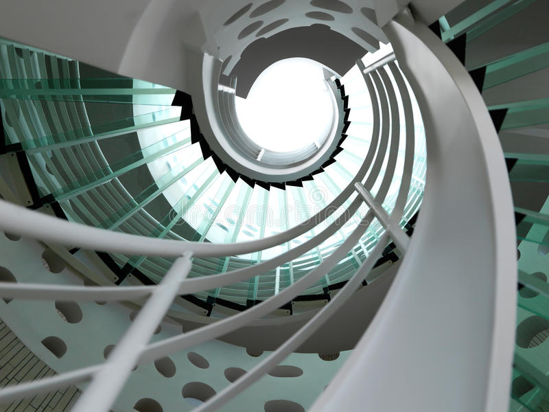 Modern glass spiral staircase royalty free stock image