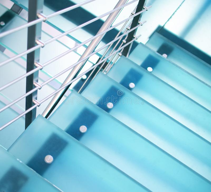 Modern glass staircase stock photo
