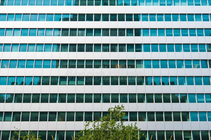 Modern glass and steel office building with numerous office windows reflecting blue and teal colors and other buildings. A grid of windows in an office building royalty free stock images
