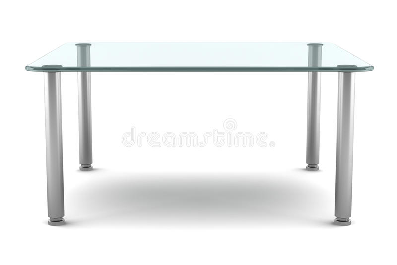 Modern Glass Table Isolated On White Royalty Free Stock Photography