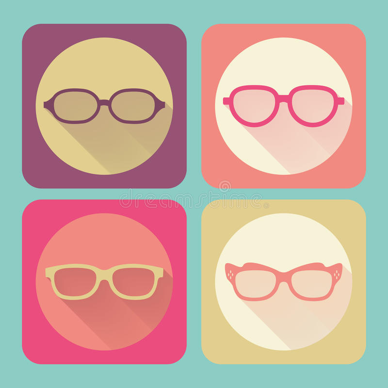 Modern glasses. Flat icons vector collection with long shadow effect in stylish colors of web design objects, business, office vector illustration
