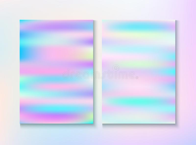 Modern Glitch Rainbow Music Party Vector Poster Set. Holograph Gradient Overlay. Bright Certificate. Dreamy Light Pearl Cover, Blank Paper, Teal. Energy stock illustration
