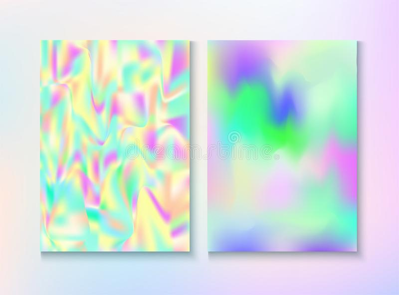 Modern Glitch Rainbow Music Party Vector Poster Set. Trendy Light Pearl Cover, Blank Paper, Teal. Hologram Gradient Overlay. Bright Illustration. Energy vector illustration