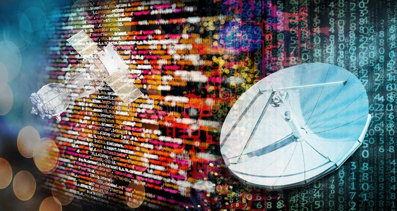 Modern global telecommunications. Digital global telecommunications with satellite royalty free stock image