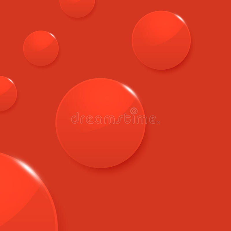 Modern glossy circles on red vector background stock illustration